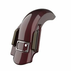 Crimson Red Sunglo Dominator Stretched Rear Fender 2 Into 1 Fits 09-13 Harley