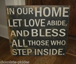 Big Bless Our Home Wall Signprimitive/french Country Farmhouse Christian Decor