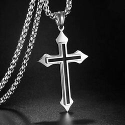 Stainless Steel Silver Double Layer Christ Cross Pendant Necklace For Men Women
