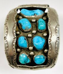 Vintage Large Navajo Sterling Silver Turquoise Shadow Box Watch Band Bracelet
