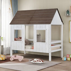 Twin Size Low Loft Bed Wood House Bed W/2 Front Windows Kids Teens Playhouse Bed
