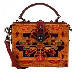 Dolce And Gabbana Handmade Paint Wood Clutch Bag Dolce Box Tote Brown Red 09583