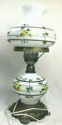 Vintage 1972 Yellow Floral Painted Hurricane Lamp Lef And Ef Industries Electric