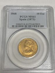 1868 Spain Gold 10 Escudos Queen Isabela Ii Madrid - Pcgs Ms61 Gold Coin