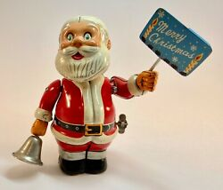 Vintage 1950s Tin Toy Windup Santa With Ringing Bell And Merry Christmas Sign