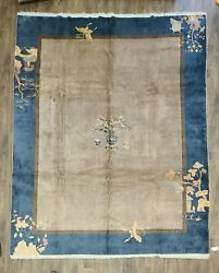 Antique Handwoven Art Deco Chines Rug 9and039x11and0394 Soft Gray And Blue