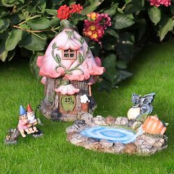 Fairy Garden Gnome Accessories Kit - Hand Painted Miniature Fairy House Dragon