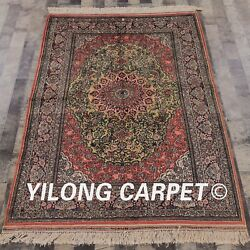 Yilong 4and039x6and039 Handmade Silk Carpet Home Luxury Durable Antistatic Area Rug 071m