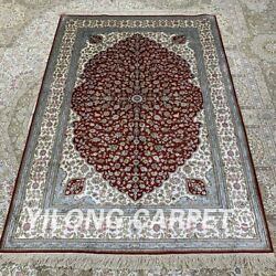Yilong 4'x6' Red Handknotted Silk Area Rug Living Room Oriental Carpet H283b