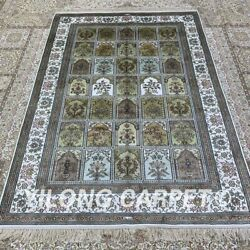 Yilong 4and039x6and039 Handwoven Silk Carpet Home Interior Family Room Area Rug H291b