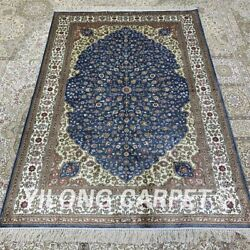 Yilong 4and039x6and039 Handmade Silk Carpet Kid Friendly Traditional Home Office Rug H294b