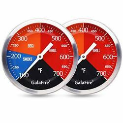 2 Pack Bbq Thermometer Gauge Charcoal Grill Pit 3 3/16 Inch Large Dial Smoker