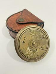Nautical 2 Handmade Solid Brass 100 Years Calendar Compass With Leather Case