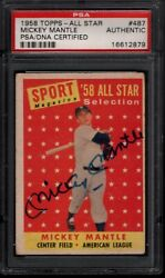 1958 Topps 487 Mickey Mantle All Star Autograph Signed Hof Psa Dna 2467
