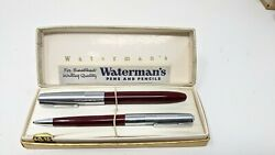 Vintage Watermans 14kt Gold Tip Pen And Mechanical Pencil Set With Case