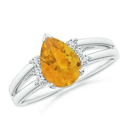0.82cttw Pear Fire Opal Ring With Triple Diamond Accents In Silver/gold/platinum
