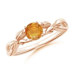 Nature Inspired Orange Sapphire Ring With Leaf Motifs In Gold/platinum Size 3-13