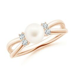Freshwater Pearl Infinity Split Shank Ring In Gold/platinum Size 3-13