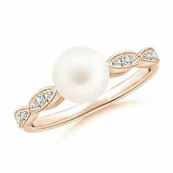 7mm Freshwater Pearl Ring With Marquise Motifs In Gold/platinum Size 3-13
