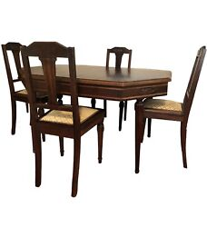 Victorian Walnut Dining Set - Table 4 Chairs Removable Legs And Pedestal Reduced