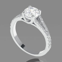 1.55 Ct Real Round Cut Diamond Engagement Ring 14k White Gold D/vs2