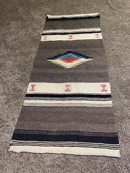 """Vintage Early American Indian / Mexican Hand Woven Wool Rug Wall Hanging 20""""x47"""""""