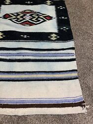 """Vintage Early American Indian / Mexican Hand Woven Wool Rug Wall Hanging 21""""x44"""""""