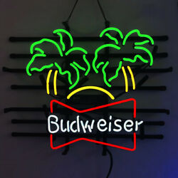 Real Glass Display Neon Signs Budweiser Palm Trees 19x15 -072