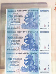 3x Zimbabwe 100 Trillion Dollars Currency 2008 Aa Series   Over 50 In Stock