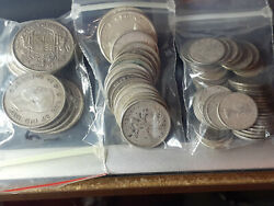 Lot Of Silver Coins Of Canada 80 Quarters Dimes 0.50 Face Value Pre-1967