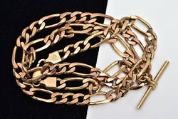 Superb Vintage 9ct Gold 20.5 Figaro And T-bar 38.7g Chain Necklace/bracelet And Box