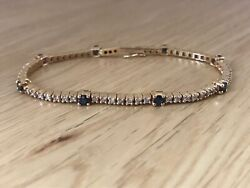 Magnificent Vintage 18ct Gold Diamond And Sapphire 3.75ct Tennis Bracelet And Box