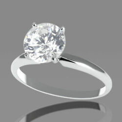 1 1/2 Ct Solitaire Diamond Engagement Ring Round Cut H/si2 18k White Gold