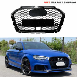 Rs3 Style Front Honeycomb Grille With Acc Hole Gloss Black For Audi A3 S3 17-19
