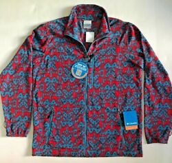 Nwt Columbia Mens Blue And Red Ikat Aztec Fleece Zip Mansfield Jacket L Free Ship