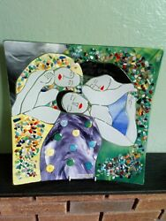 Mdina Fused Glass Work. Mdina Fused Glass Charger. Based On The 3ages Of Woman.