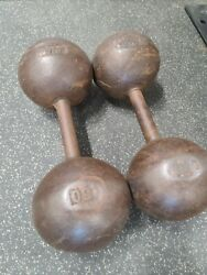 York Barbell 50 Lb. Globe Dumbbell Weights - Rare Vintage - Handles Are Straight