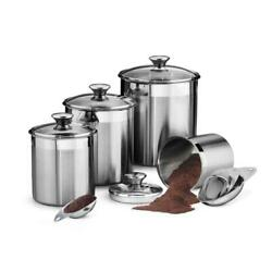 Stainless Steel Kitchen Storage Organizer Canister Scoop Tempered Glass Lid 8 Pc