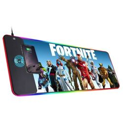 Fortnite Gaming Wireless Charging Mouse Pad Gamer Led Rgb Large Xl Mouse Mat
