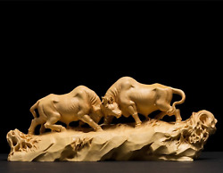 Boxwood Wooden Bull Wrestling Sculpture Statue Office And Home Dandeacutecor And Sport Gift