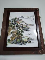 Vintage/antique Chinese Ink Drawing Boat Mountain House Tree