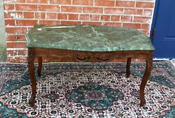 French Antique Louis Xv Style Marble Top Mahogany Coffee Table