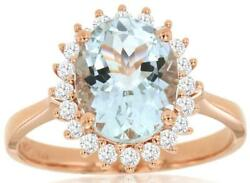 Large 2.36ct Diamond And Aaa Aquamarine 14kt Rose Gold 3d Oval And Round Flower Ring