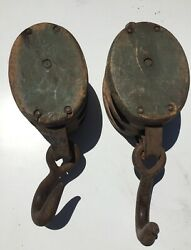 Lot Of 2 Boston And Lockport Wheel Pulleys Block And Tackle Original