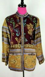 Sag Harbor Tapestry Jacket Coat Size 10 Womens Multicolor Floral Button Down