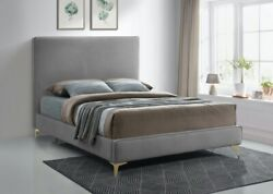 1pc Full Size Bed Bedroom Furniture Soft Grey Velvet Piping Hboard And Footboard