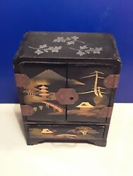 Antique Japanese Lacquer Jewelry Box With Working Lock And Key