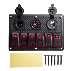 12-24v 6 Gang Dual Usb Voltmeter Switch Panel With For Car Boat Rv Marine Truck