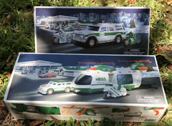 Hess 2001 Helicopter + Nib 2004 Sport Utility Vehicle Truck With Motorcycles