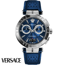 Versace Ve1d01220 Aion Chronograph Silver Blue Leather Menand039s Watch New